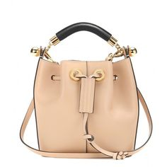 Chloé Gala Small Leather Bucket Bag ($1,215) ❤ liked on Polyvore featuring bags, handbags, shoulder bags, neutrals, 100 leather handbags, beige purse, chloe handbags, leather handbags and genuine leather purse