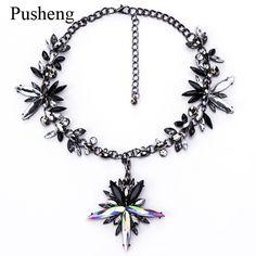 Pusheng Chunky Chocker Necklace 2017 Geometirc Crystal Luxury Maxi Choker Necklace Bib Fashion Statement Necklaces for women