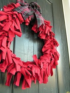 Recycling tip: Make decorative DIY door wreathes and wall hangings out of scraps from your favorite worn out clothing.