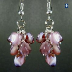 ♥ Pretty Unusual Murano Glass Beads Cluster Plated Silver Earrings