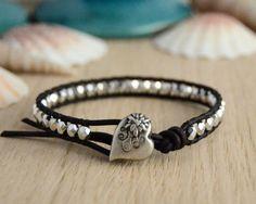 Silver stack bracelet. Rocker jewelry. Beaded by SinonaDesign