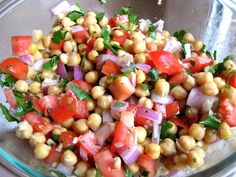 a hint of honey: Chickpea Salad with Red Onion and Tomato