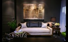 "Contemporary Living Room with interior wallpaper, Fangio Mercury Glass and Metal 31"" H Table Lamp with Empire Shade, Carpet"