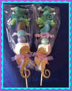 Frozen Kabobs - Frozen Candy Buffet Kabobs set of 12 Seahorse Kabobs Under the Sea Little Mermaid Candy Mermaid Theme Birthday, Little Mermaid Birthday, Little Mermaid Parties, The Little Mermaid, Mermaid Baby Showers, Baby Mermaid, 4th Birthday Parties, Birthday Party Decorations, Edible Party Favors