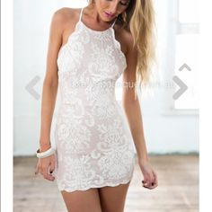 Xenia lace dress Super cute tan/cream colored tight dress with a scalloped hemline. Bought from an Australian boutique. Xenia Dresses Mini