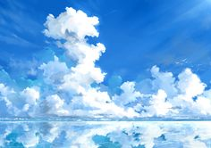 Anime phong cảnh 美 し い! anime scenery, sky art и sky anime Sky Anime, Blue Anime, Anime Art, Fantasy Landscape, Landscape Art, Fantasy Art, Anime Cover Photo, Anime Scenery Wallpaper, Digital Painting Tutorials