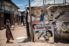 Wall of a beauty salon in the Dadaab refugee camp in northern Kenya.