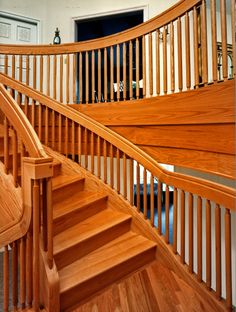 Kingsport Residence No. 4 -Stair Redesign with cast glass under landing.Photography by Doug Salin. Cast Glass, Landing, It Cast, Stairs, Architecture, Places, Photography, Home Decor, Fused Glass