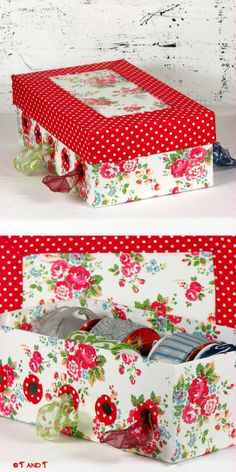 T and T kitchen and atelier: :: Polka dots and roses ribbon storage box ::