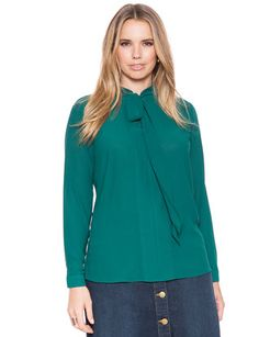 eloquii Tie Neck Blouse Jungle Green #plussizefashion