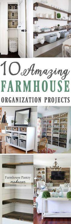10 Amazing Farmhouse inspired organization and storage ideas ! 10…