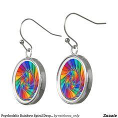 Psychedelic Rainbow Spiral Drop Earrings