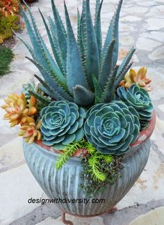 Make a hidden water reservoir for pots in the garden.When you pot up your flowers dangle a few wicks (mop strings) out of the drainage holes. The wicks should be placed a few inches into the potting mix in your planter. Dont discard chipped pot. Cover them up with plantings. More
