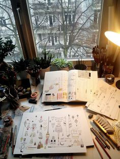 Workspace. Reminds me of my tiny studio space in art school. Having a window like that was delightful.