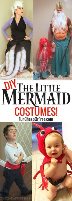 DIY Little Mermaid Costumes for the entire family! Get ideas, and inspiration to transform into Ariel, Ursula, King Triton, and more! Mermaid Costume Kids, Mermaid Halloween Costumes, Little Mermaid Costumes, Little Mermaid Parties, Mermaid Diy, Family Halloween Costumes, The Little Mermaid, Couple Costumes, Pirate Costumes
