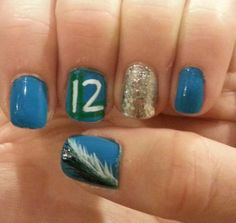 My nails for 8-29-13 seahawks game! Go Hawks! Win