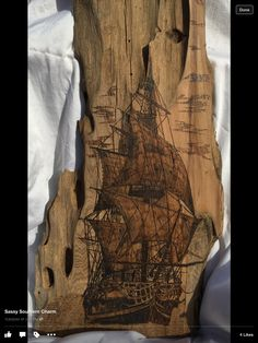 Beautiful ship wood burned on cypress added by Sassy Southern Charm from Face Book.