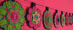 Felted wool flower garland by Ratwife on Etsy