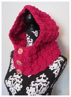 Hooded Cowl. Hot Pink  Soft. Lightweight. by HookandTrend on Etsy, $35.00