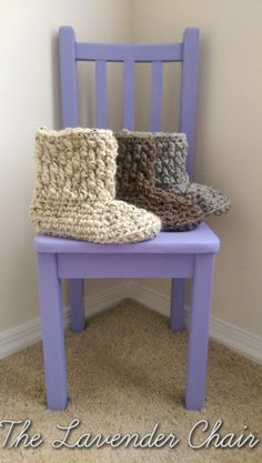 Women's Chunky Slipper Boots - free crochet pattern from The Lavender Chair.