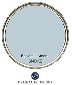 Best calming paint colour for stress free room. Relaxing colour from Benjamin Moore, Smoke, blue-gray. Kylie M Interiors Edesign, online paint color consultant. Soothing Paint Colors, Blue Gray Paint Colors, Relaxing Colors, Best Paint Colors, Bedroom Paint Colors, Interior Paint Colors, Paint Colors For Home, House Colors, Bathroom Paint Colours