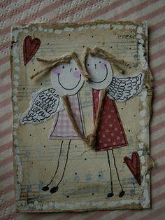 ATC_zakochane aniołki for Szajka Fabric Cards, Fabric Postcards, Diy And Crafts, Crafts For Kids, Paper Crafts, Christmas Art, Christmas Ornaments, Art Carte, Angel Crafts