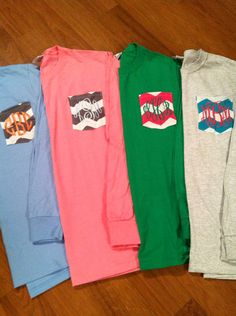Good idea.... LONG SLEEVED Personalized Monogrammed Tshirts by ElsBriarPatch, $22.00