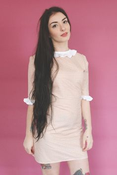 Gingham Frill Dress  Idea of what to do with that eyelet lace
