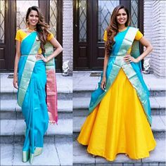 How about reusing an old saree from your mums closet and wearing it as a lehenga dupatta? it is affordable, chic and looks super stylish. Lehanga Saree, Lehenga Saree Design, Lehenga Dupatta, Half Saree Lehenga, Lehnga Dress, Indian Lehenga, Saree Look, Lehenga Designs, Saree Blouse Designs