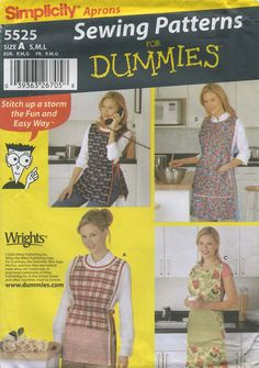 Retro Vintage Apron Sewing Pattern | Simplicity 5525 | Year 2003 | All Sizes Bust 32½-42 | Waist 25-34 | Hip 34½-44 | A Sewing Patterns for Dummies pattern aprons, apron sew, dummi, sew pattern, apron patterns, simplic 5525, pattern sew, board apron, sewing patterns