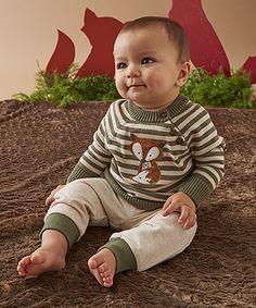 Oatmeal & Green Fox Sweater Set - Infant