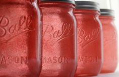 Coral Glitter Mason Jars perfect for my kitchen!