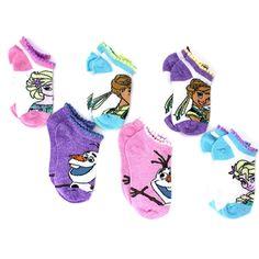Disney Frozen Ice Queen 3-Pack Size 6-8 Ankle Socks Fuchsia//Purple
