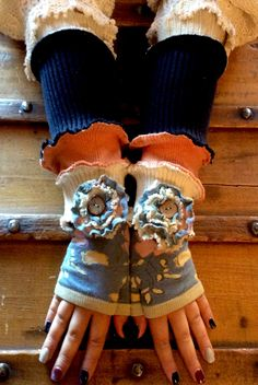 One of a Kind! Shabby Chic Eclectic Style Navy Floral Fingerless Gloves made from high quality materials! Keep your hands nice and warm while keeping your fingers free for texting and computer work! Or just wear them because they are so adorable and funky! Each pair is unique and they are available not at Crossthrift.com! Texting, Eclectic Style, Hand Warmers, Fingerless Gloves, Fingers, Upcycle, Shabby Chic, Hands, Navy