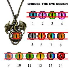 d9d0d8d296b Glass Eye Pendant - Flying Dragon - Pick your Eyeball Design with 20 inch  Chain Dragon