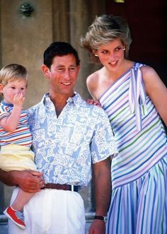 August 9, 1986: Prince Charles and Princess Diana with Prince Harry on holiday at the Marivent Palace in Palma de Mallorca, Spain.