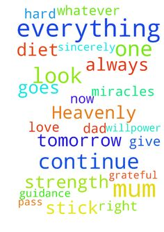 Heavenly father I thank you for everything you do for - Heavenly father I thank you for everything you do for us all, we are so truly, humbly, sincerely and genuinely grateful and thankful. Thank you for giving me the strength and willpower to stick to this diet. Thank you for looking after mum when she went to the dentist on Monday. Please look after mum when she goes to her cleaning jobs tomorrow. Please look after dad when he goes to work tomorrow. Please let Tommy pass his maths exams…