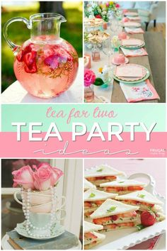 Host a Tea Party Fit for a Queen with these Tea for Two Party Ideas. Afternoon tea finger sandwiches, floral tea cup centerpieces and vintage books for a tablescape for the inspirational garden party ideas Girls Tea Party, Princess Tea Party, Tea Party Theme, Tea Party Birthday, Party Drinks, Tea Party For Kids, Tea Party Foods, Birthday Stuff, Party Cups