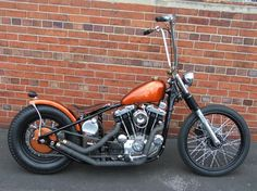 Bobbers: Ironhead Bobber Motorcycles With Amazing Custom Modification Inspirations, Amazing Ironhead Sportster Bobber with Orange Gas Tank a...