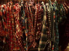 Flannel shirts.