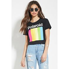 Forever 21 Women's  Polaroid Graphic Crop Top ($15) ❤ liked on Polyvore featuring tops, crop top, graphic crop tops, forever 21, graphic tops and forever 21 tops