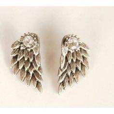 Graceful Feather Angel Wings Rhinestone Earrings