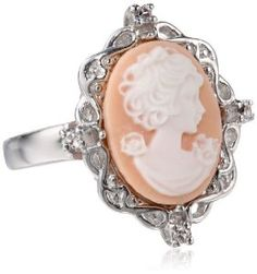 Sterling Silver Pink Cameo with Created White Sapphire Ring Size 7