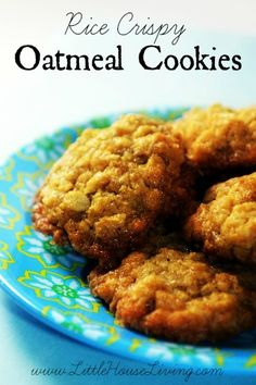 Rice Crispy Oatmeal Cookies Recipe. These cookies are gluten free, dairy free, egg free, and nut free!