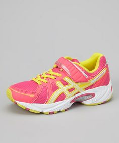 Take a look at this Hot Pink & Sun Yellow Pre Excite PS Running Shoe by ASICS on #zulily today!