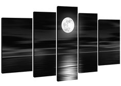 Hand-painted Wood Framed on the Back Oil Wall Art Sea White Full Moon Night Home Decoration Abstract Landscape Oil Painting on Canvas 5pcs/set Mixorde