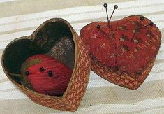 Heart Shaped Pincushion Box with a Strawberry Pincushion inside.