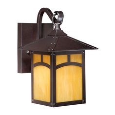 Features:  -Outdoor wall lantern.  -Honey opal glass.  -Espresso bronze finish.  Product Type: -Wall lantern.  Finish: -Espresso Bronze.  Fixture Material: -Metal.  Hardware Material: -Stainless steel
