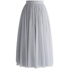 Chicwish Ethereal Tulle Mesh Midi Skirt in Grey ($48) found on Polyvore featuring women's fashion, skirts, grey, mid calf skirts, grey tulle skirt, layered skirt, layered tulle skirt and gray midi skirt