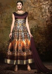 Party Wear Brown Banglori Silk Embroidered Work Anarkali Suit